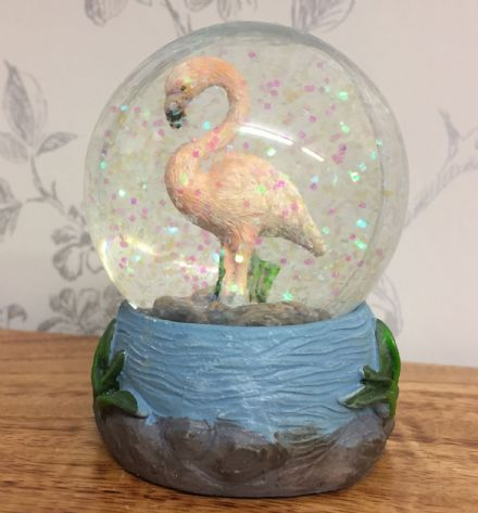 Pink Flamingo Glitter Snow Globe Waterball with Blue Tropical Base ~ A